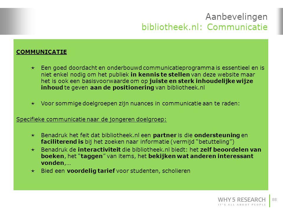 Aanbevelingen bibliotheek.nl: Communicatie