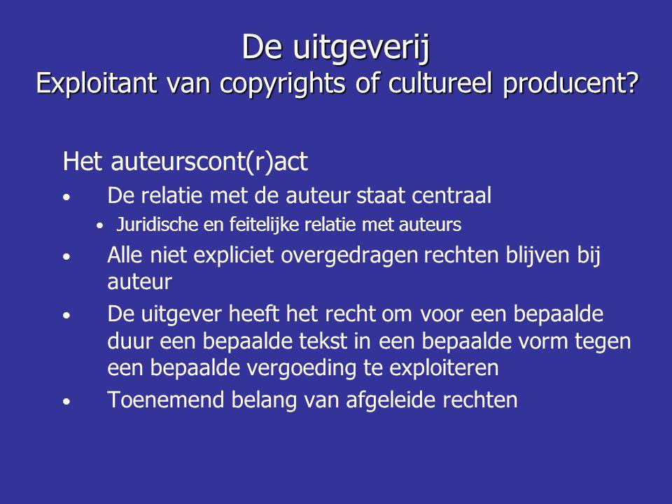 De uitgeverij Exploitant van copyrights of cultureel producent