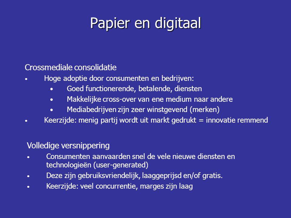 Papier en digitaal Crossmediale consolidatie Volledige versnippering