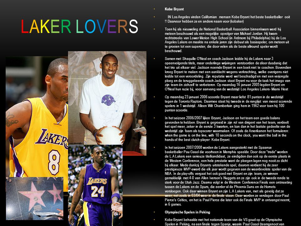 LAKER LOVERS Kobe Bryant.