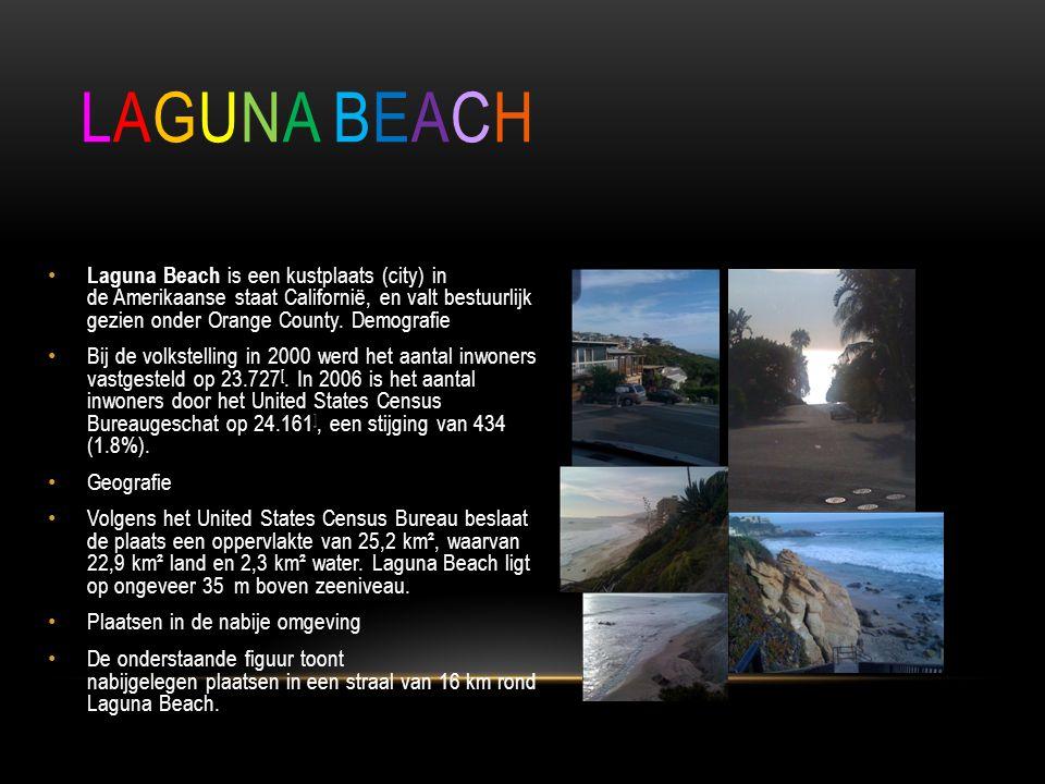 Laguna beach Laguna Beach is een kustplaats (city) in de Amerikaanse staat Californië, en valt bestuurlijk gezien onder Orange County. Demografie.