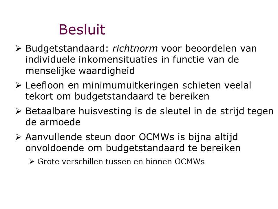 Besluit Budgetstandaard: richtnorm voor beoordelen van individuele inkomensituaties in functie van de menselijke waardigheid.