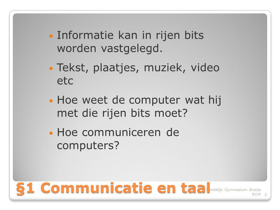 Informatie kan in rijen bits worden vastgelegd.