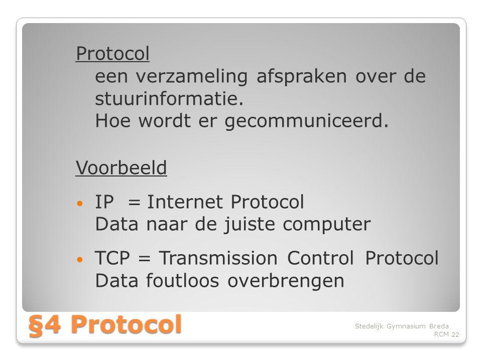 Protocol een verzameling afspraken over de stuurinformatie