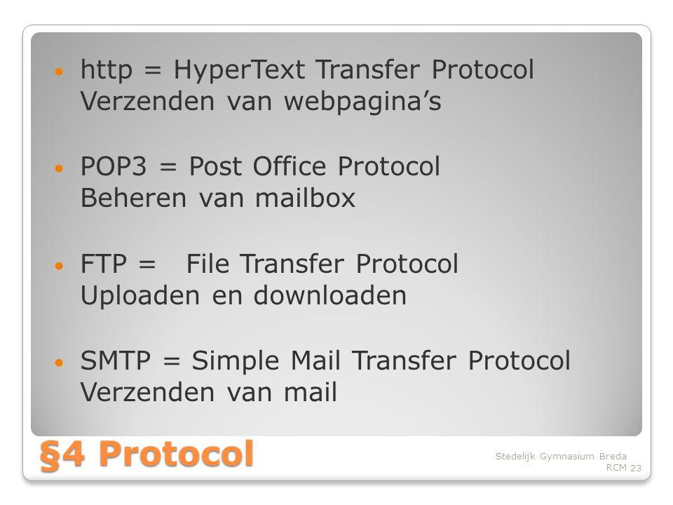 http = HyperText Transfer Protocol Verzenden van webpagina's