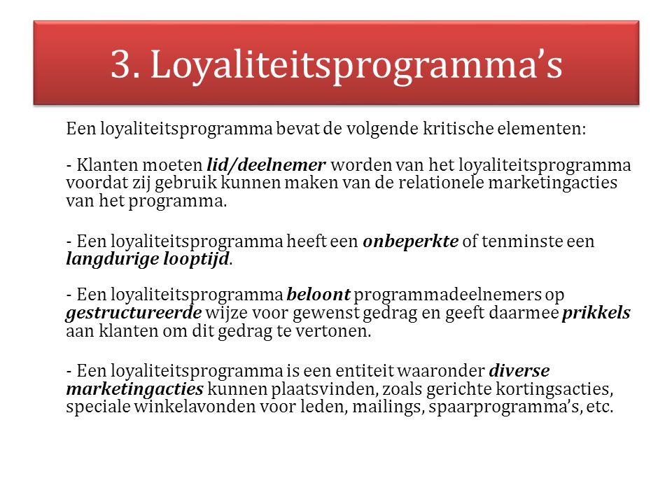 3. Loyaliteitsprogramma's