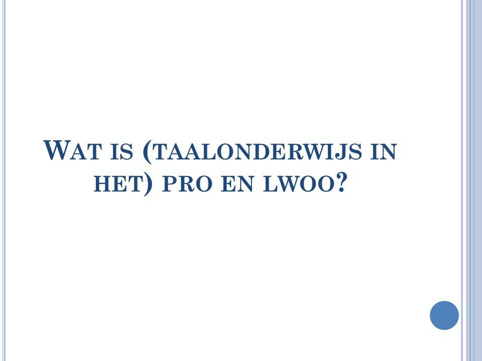 Wat is (taalonderwijs in het) pro en lwoo