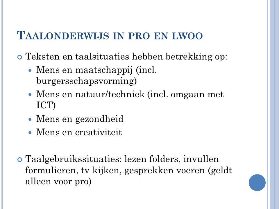 Taalonderwijs in pro en lwoo