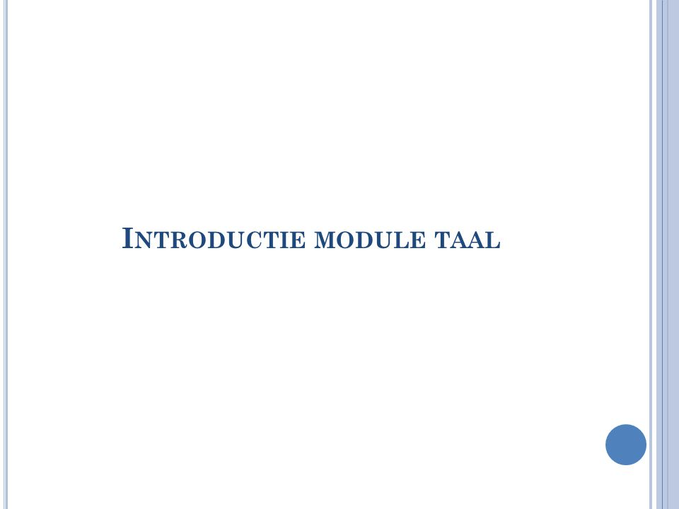 Introductie module taal
