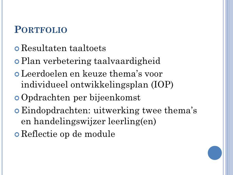 Portfolio Resultaten taaltoets Plan verbetering taalvaardigheid