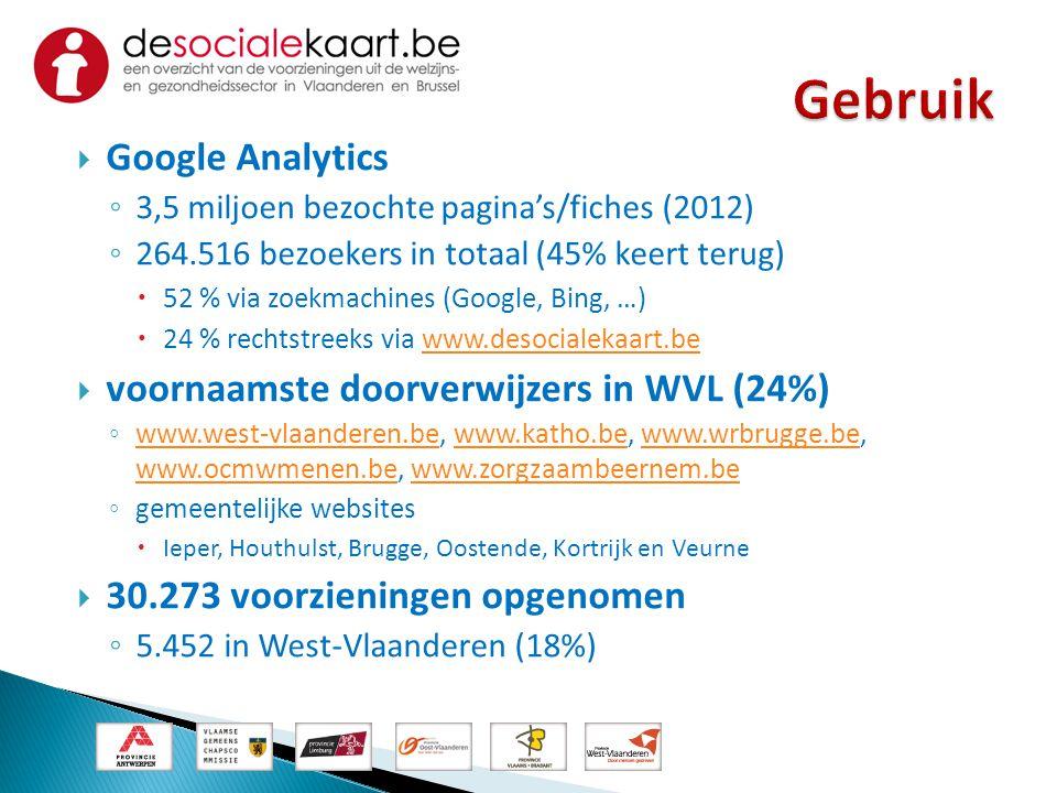 Gebruik Google Analytics voornaamste doorverwijzers in WVL (24%)