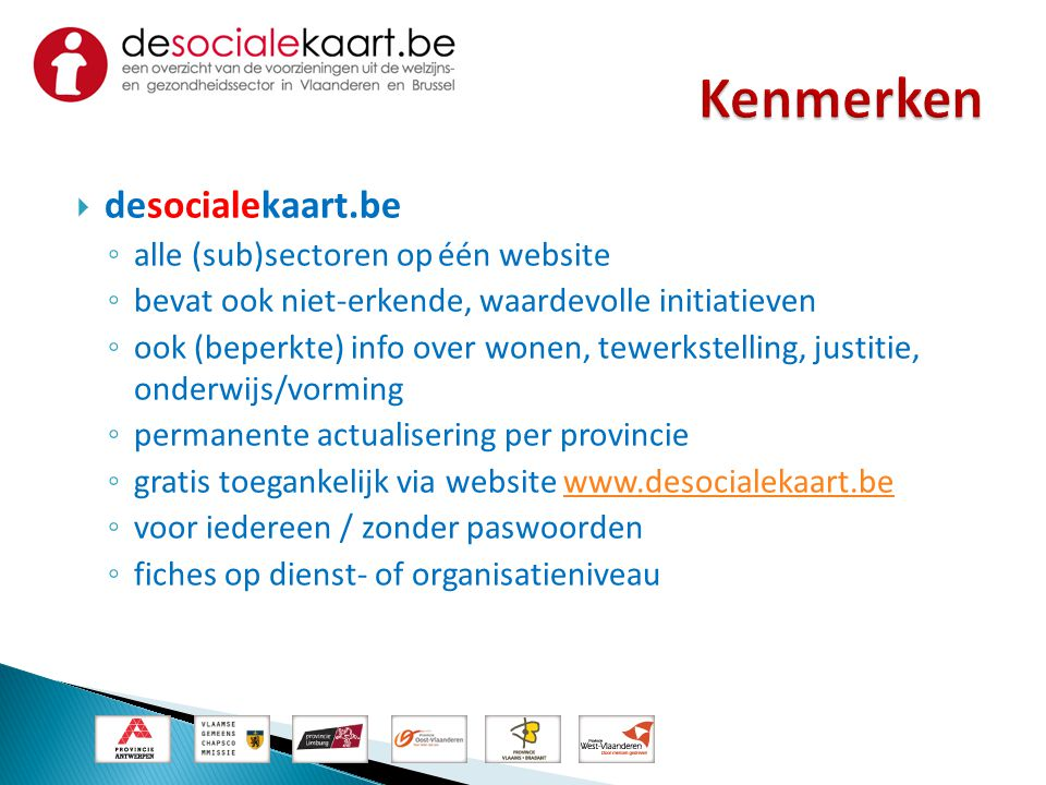 Kenmerken desocialekaart.be alle (sub)sectoren op één website
