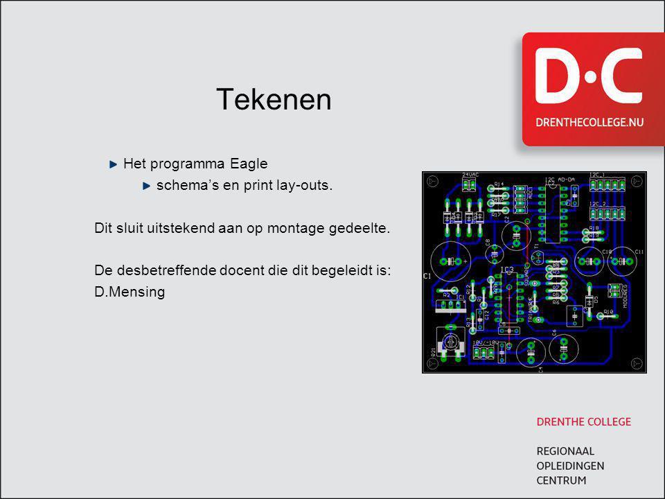 Tekenen Het programma Eagle schema's en print lay-outs.