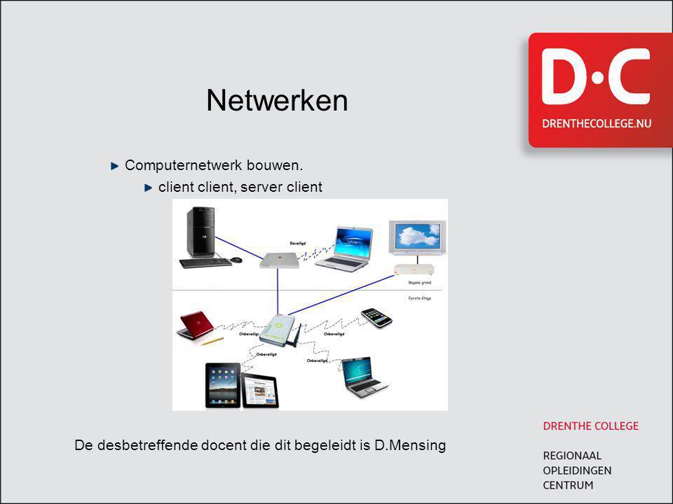 Netwerken Computernetwerk bouwen. client client, server client