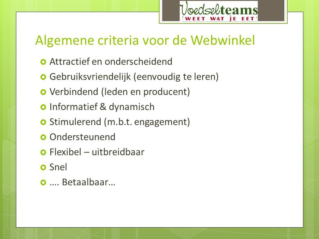 Algemene criteria voor de Webwinkel