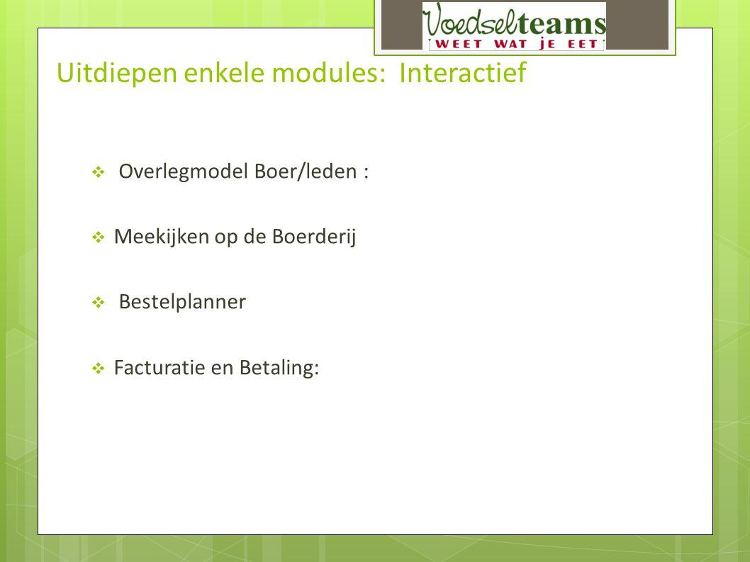 Uitdiepen enkele modules: Interactief