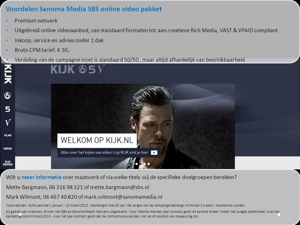Voordelen Sanoma Media SBS online video pakket