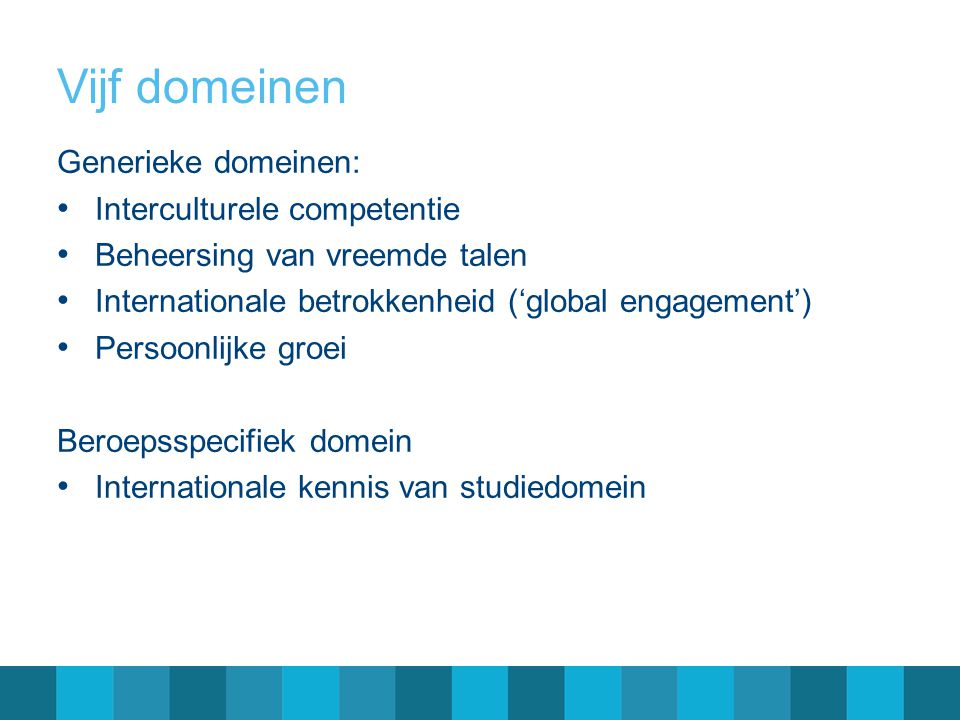 Vijf domeinen Generieke domeinen: Interculturele competentie