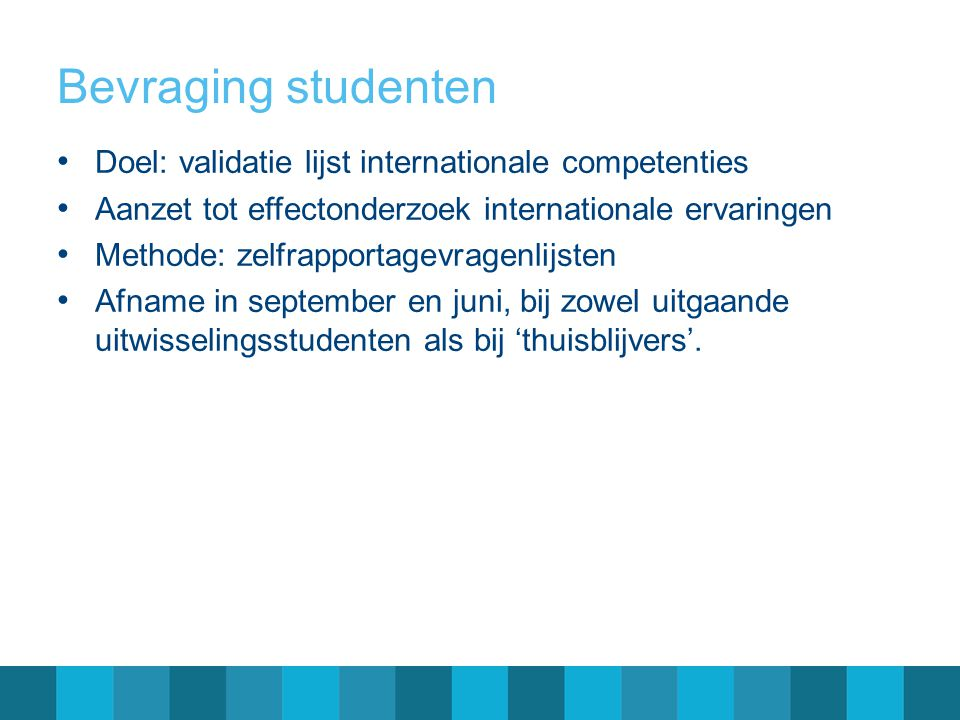 Bevraging studenten Doel: validatie lijst internationale competenties
