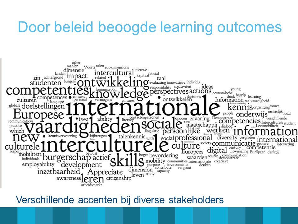 Door beleid beoogde learning outcomes