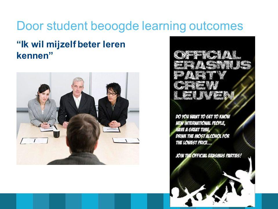 Door student beoogde learning outcomes
