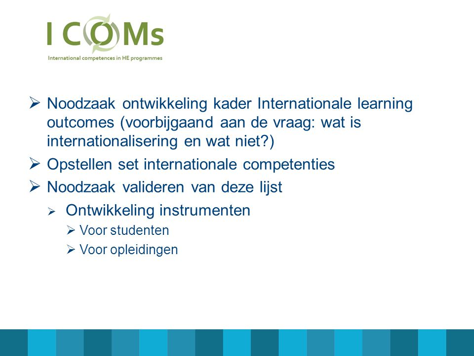 Opstellen set internationale competenties
