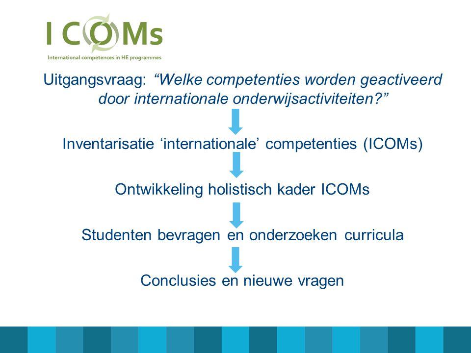 Uitgangsvraag: Welke competenties worden geactiveerd door internationale onderwijsactiviteiten Inventarisatie 'internationale' competenties (ICOMs) Ontwikkeling holistisch kader ICOMs Studenten bevragen en onderzoeken curricula Conclusies en nieuwe vragen