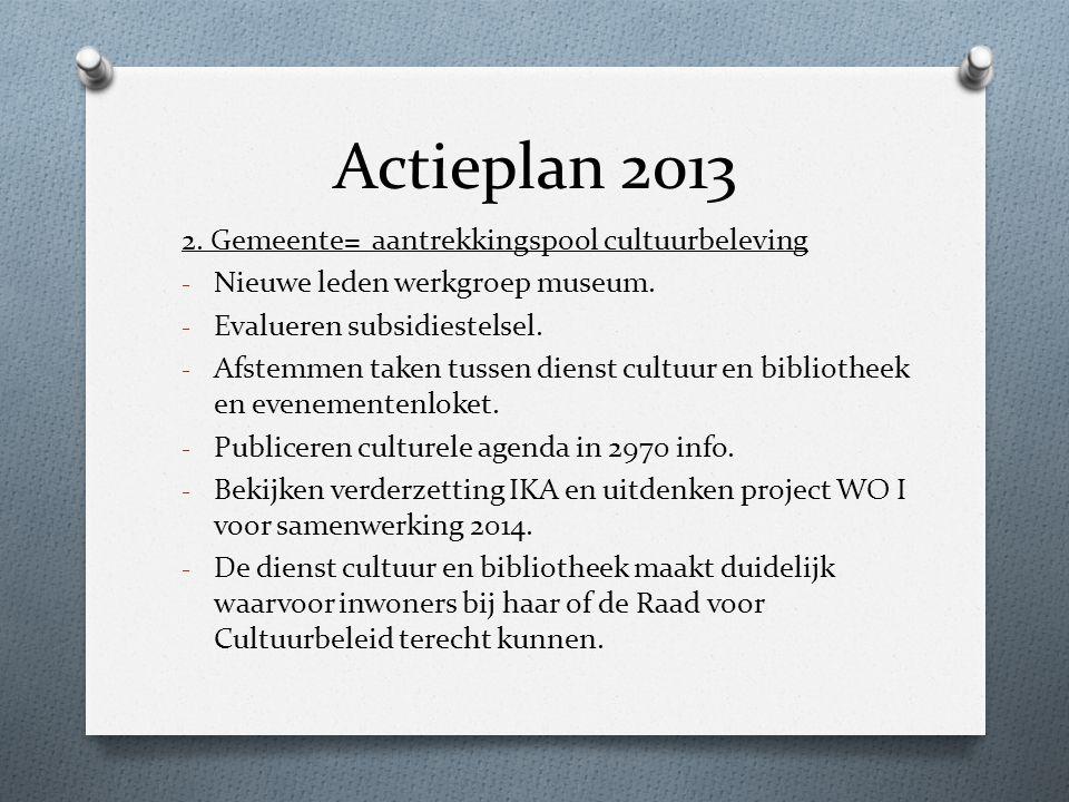 Actieplan 2013 2. Gemeente= aantrekkingspool cultuurbeleving