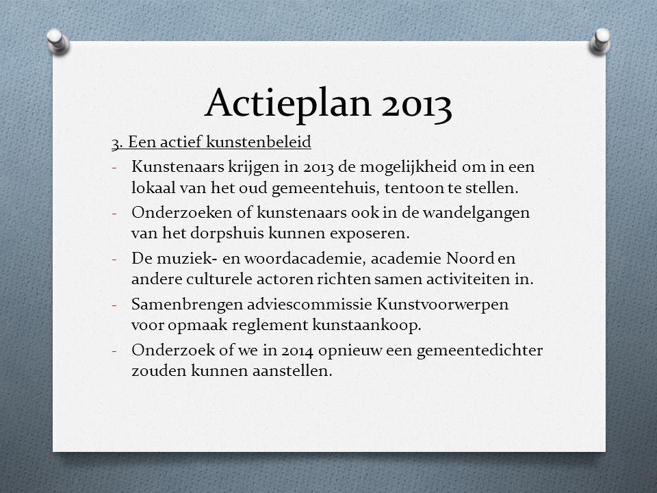 Actieplan 2013 3. Een actief kunstenbeleid