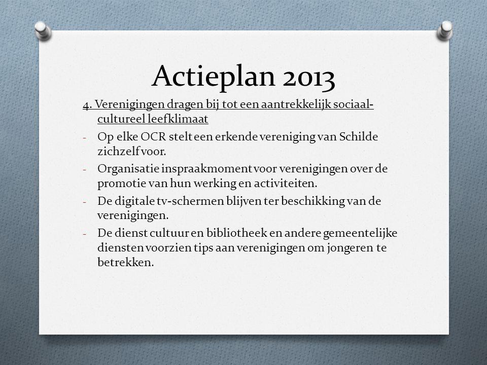 Actieplan 2013 4. Verenigingen dragen bij tot een aantrekkelijk sociaal-cultureel leefklimaat.