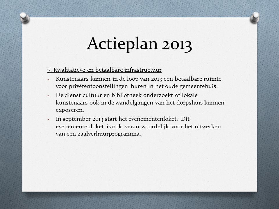Actieplan 2013 7. Kwalitatieve en betaalbare infrastructuur