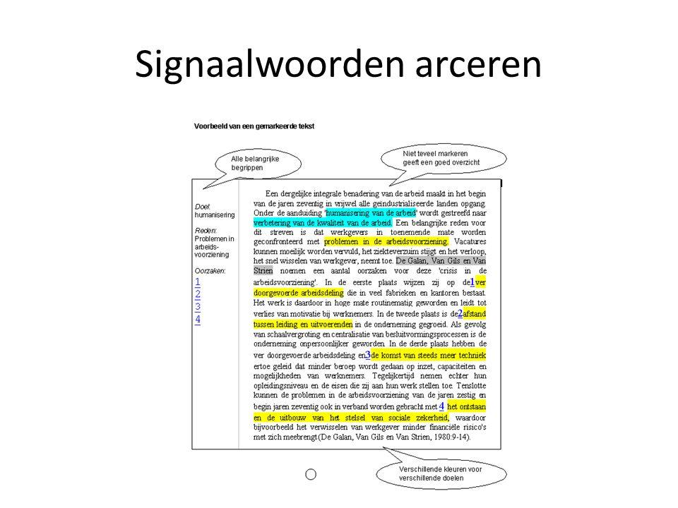 Signaalwoorden arceren