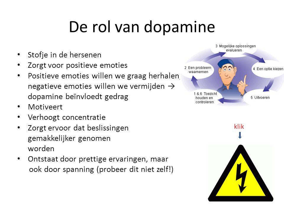 De rol van dopamine Stofje in de hersenen Zorgt voor positieve emoties