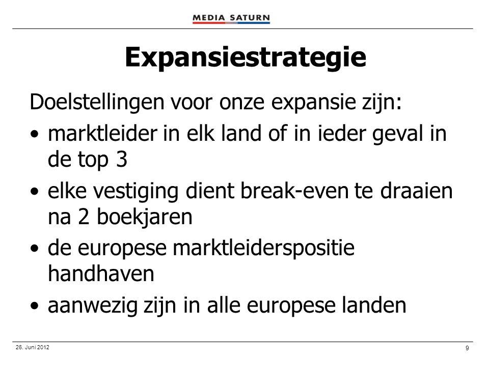 Expansiestrategie Doelstellingen voor onze expansie zijn:
