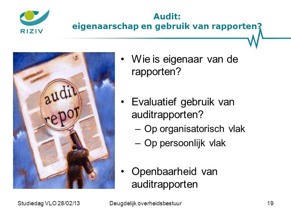 Audit: eigenaarschap en gebruik van rapporten