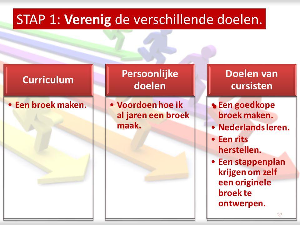 STAP 1: Verenig de verschillende doelen.