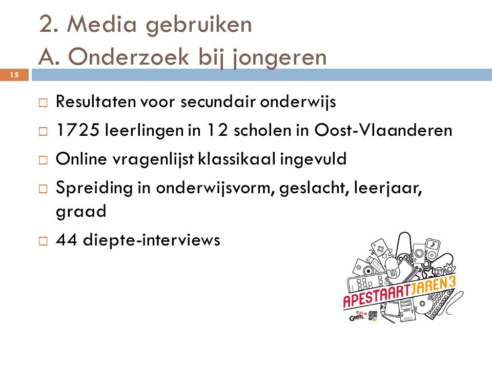 2. Media gebruiken A. Onderzoek bij jongeren