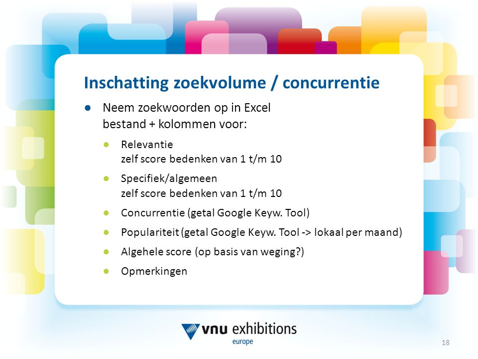 Inschatting zoekvolume / concurrentie
