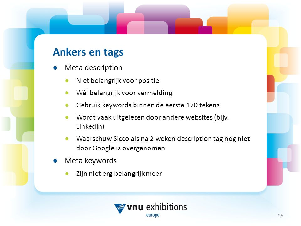 Ankers en tags Meta description Meta keywords