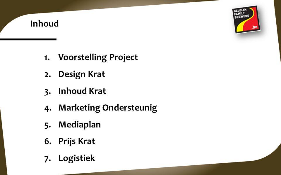 Inhoud Voorstelling Project. Design Krat. Inhoud Krat. Marketing Ondersteunig. Mediaplan. Prijs Krat.