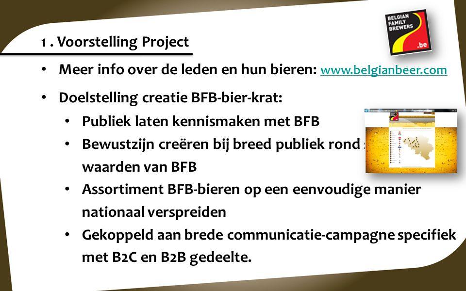 1 . Voorstelling Project Meer info over de leden en hun bieren: www.belgianbeer.com. Doelstelling creatie BFB-bier-krat: