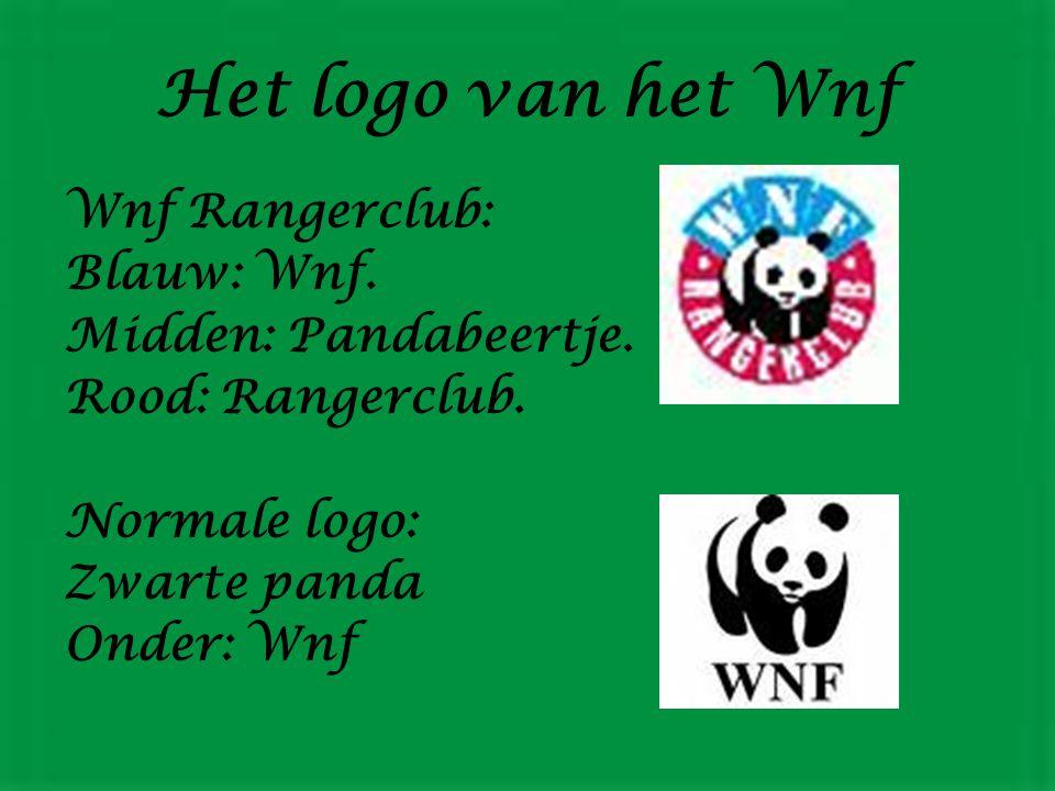 Het logo van het Wnf Wnf Rangerclub: Blauw: Wnf. Midden: Pandabeertje.