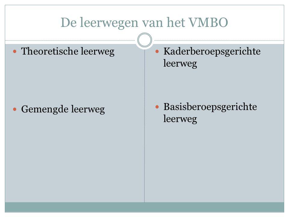 De leerwegen van het VMBO