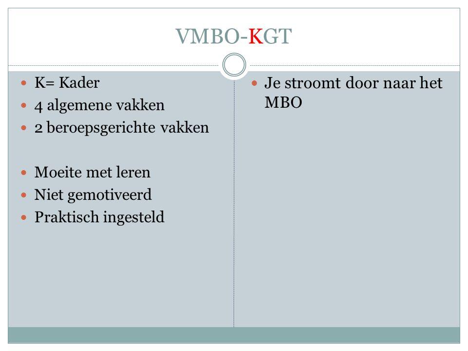 VMBO-KGT Je stroomt door naar het MBO K= Kader 4 algemene vakken
