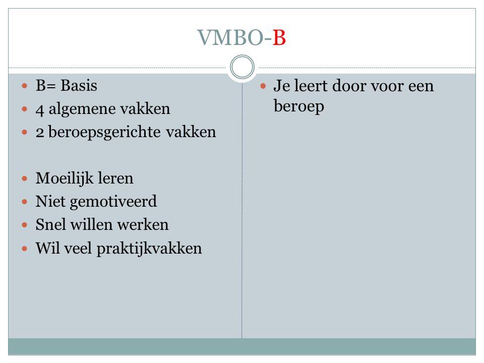 VMBO-B Je leert door voor een beroep B= Basis 4 algemene vakken