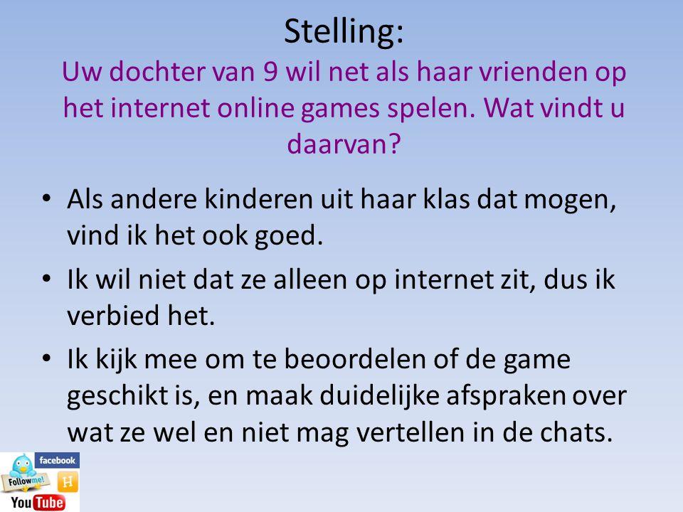 Stelling: Uw dochter van 9 wil net als haar vrienden op het internet online games spelen. Wat vindt u daarvan