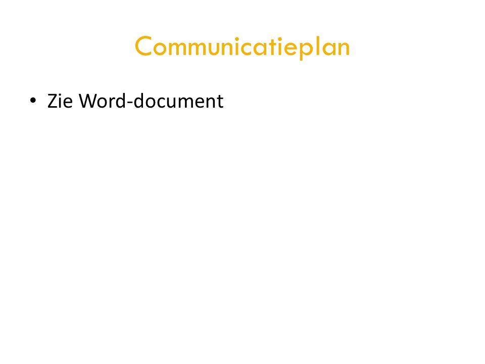 Communicatieplan Zie Word-document