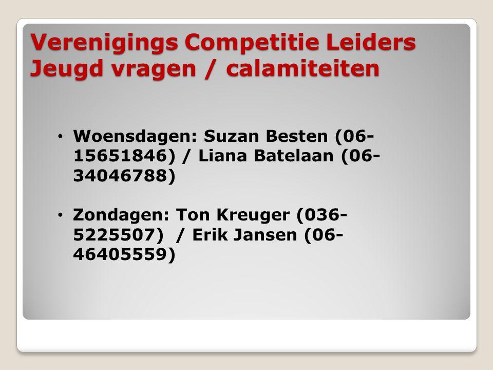 Verenigings Competitie Leiders Jeugd vragen / calamiteiten