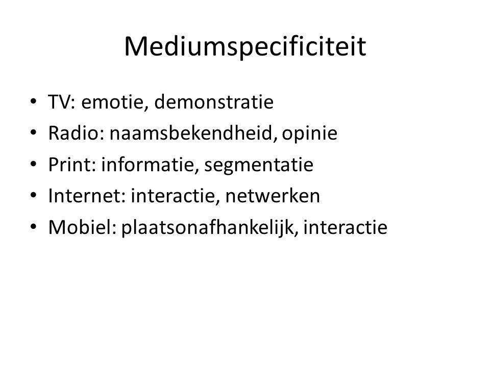 Mediumspecificiteit TV: emotie, demonstratie