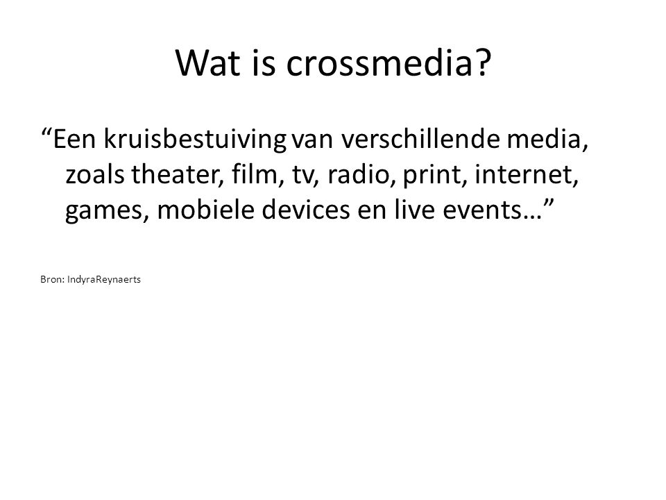 Wat is crossmedia
